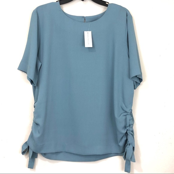 Ann Taylor Factory Tops - Ann Taylor Blue Blouse with Drawstring Sides